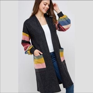 Colorful Stripe Bubble Sleeve Cardigan (1X-3X)